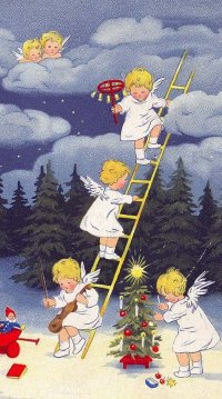 Vintage Christmas card Little angels decorating the forest trees for Christmas _ Christmastim...jpeg